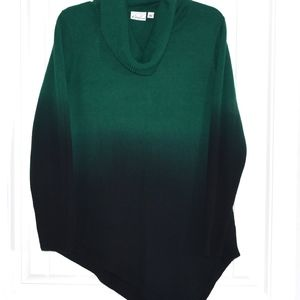 Kim Rogers Sweaters - Green Ombre Asymmetrical Sweater Size L
